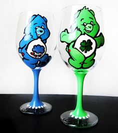 Care Bear wine glasses--would LOVE to have them in Cheer Bear and Friend Bear