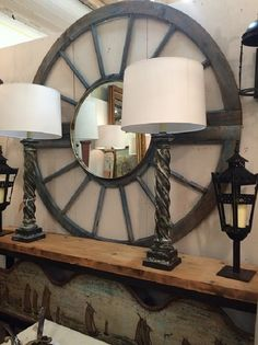 Rustic modern mirror and lamps at MAI Houston
