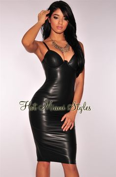 Black Faux Leather Padded Bustier Dress