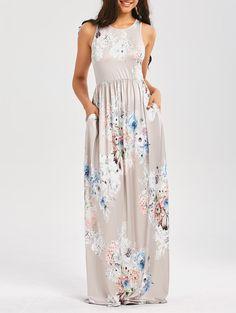 Floral Print Sleeveless High Waist Maxi Dress in Light Gray | Sammydress.com