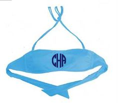 Monogrammed Swimsuit Top - Turquoise Medium