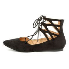 Ballet Barre Black Suede Lace-Up Flats ($28) ❤ liked on Polyvore featuring shoes, flats, black, black ballet flats, black ballet shoes, ballet flats, black ballerina flats and black lace up flats