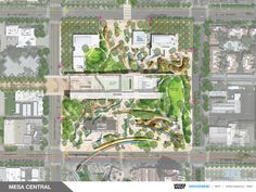 Image 23 of 24 from gallery of Final Design Concepts Unveiled for Arizona's Mesa City Center. Rendered Master Plan. Design by Woods Bagot + Surface Design. Image Courtesy of Woods Bagot + Surface Design