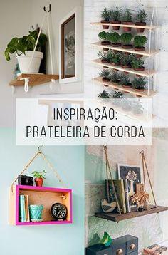 Prateleira de corda, uma ideia simples e cheia de bossa! // Prateleira de corda, uma ideia simples e cheia de bossa! O que é tendência no design e na decoração?  // palavras-chave: faça você mesma, DIY, passo a passo, inspiração, ideia, tutorial, decoração, design de interiores, tendências, prateleira de corda, casa, prateleira, barato, em conta, madeira