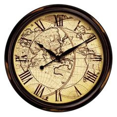 "$120 Distressed Map 24"" Wide Wall Clock"