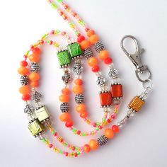 Hey, I found this really awesome Etsy listing at https://www.etsy.com/listing/450442124/bright-multicolor-beaded-lanyard-with