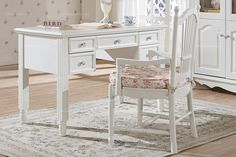 Country style simple white desk - MelodyHome.com