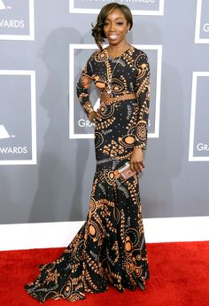 """Grammy Awards 2013: What the Stars Wore: Estelle, """"American Boy,"""" with self-designed ensemble"""