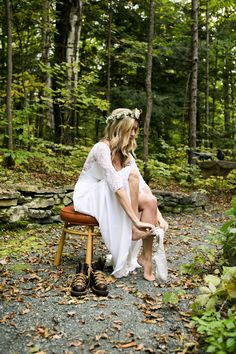 Heidi Smith wore our Stone Fox Bride custom lace back Frida dress and fresh flower crown. http://www.stonefoxbride.com/shop-dresses/ http://www.stonefoxbride.com/shop-veils-crowns/