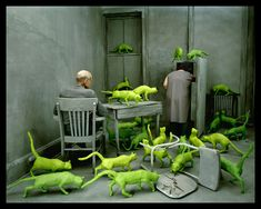 Sandy Skoglund >>> My most favourite photographer whilst studying all the way back in High School. This - RADIOACTIVE CATS (1979-84) -  is the first image i ever saw of her work.