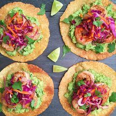 Grilled Shrimp Tostadas with Guacamole and Red Cabbage SlawDelish