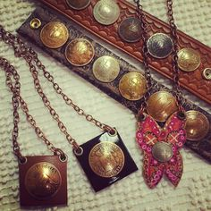 Hand Made Necklaces & Cuff Bracelets Vintage #coins #jewelry $48-68 Leather Jewelry, Leather Craft, Silver Jewelry, Jewelry Crafts, Jewelry Ideas, Jewelry Design, Bracelet Making, Jewelry Making, Coin Art