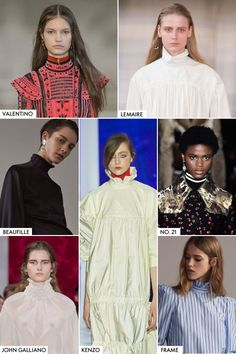 This fall, you'll be neck deep in Victorian-inspired collars. It's the turtleneck's fancy older sister (or great aunt, even). Brands like John Galliano and Kenzo took things literally in Shakespearean white, while Frame and Lemaire modernized it in crisp poplin.