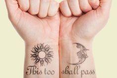 23 Inspiring This Too Shall Pass Tattoo Designs Wörter Tattoos, Arrow Tattoos, Friend Tattoos, Feather Tattoos, Body Art Tattoos, Tattoo Art, Tatoos, Crazy Tattoos, Believe Wrist Tattoo