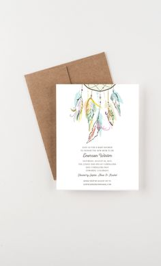 Bohemian Dreamcatcher Baby Shower, Save The Date, Wedding Announcement, Bridal Shower by seahorsebendpress on Etsy