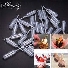 Buy 50 Pcs/Set One-time Use Ice Cream Jelly Milkshake Droppers Pipette Straw Dropper Disposable Straw Cupcake Mousse Macaron Baking Tools at Wish - Shopping Made Fun Milk Shakes, Mini Desserts, No Bake Desserts, Macarons, Mousse, Strawberry Cupcakes, Baking And Pastry, Cake Icing, Baking Tools