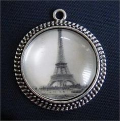 Steam Punk Glass Dome Antique Silver Pendant 30mm with your own photo $25