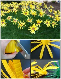 Sonnenblumen bottle crafts Making Sunflowers from Water Bottles - The Make Your Own Zone Water Bottle Flowers, Water Bottle Crafts, Plastic Bottle Art, Recycle Plastic Bottles, Water Bottle Recycling, Water Bottle Art, Plastic Plastic, Flower Crafts, Diy Flowers