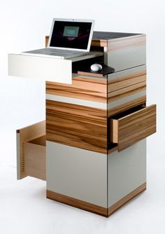 If you live in a small apartment and you are looking for some smart ideas to create practical workplace without taking so much space check those designs they may help you. An off-to-the-wall desk could be a very practical solution for small spaces . Wall Mounted Desk, Wall Desk, Small Apartments, Small Spaces, Office Furniture, Furniture Design, Smart Furniture, Work Station Desk, Home Office Design