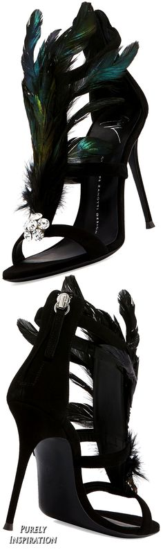 Giuseppe ZanottiPeacock Feather 105mm Sandal, Black (Nero) | Purely Inspiration