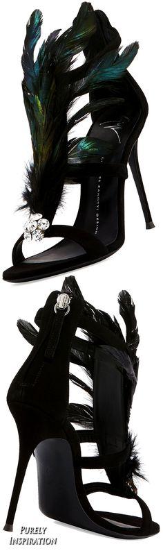 Giuseppe ZanottiPeacock Feather 105mm Sandal, Black (Nero) | Purely Inspiration