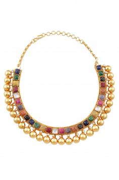 Multi stone collar/hasli in gold plated silver by Amrapali
