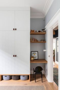 Mix hidden and open shelving for easier organization. 9 Clever Ideas for Organiz. Mix hidden and open shelving for easier organization. 9 Clever Ideas for Organization & Storage in Small Spaces. Kitchen Storage, Tall Cabinet Storage, Desk Cabinet, Storage Shelves, Bedroom Wardrobe, Wardrobe Wall, Open Wardrobe, Wardrobe Doors, Closet Doors
