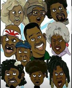 The many faces of Martin Lawrence Black Love Art, Black Girl Art, My Black Is Beautiful, Art Girl, Dope Cartoon Art, Dope Cartoons, Black Cartoon, Culture Art, Black Art Pictures