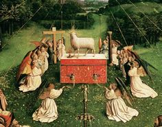 Jan van Eyck. Adoration of the Mystic Lamb detail from the Ghent Altarpiece.