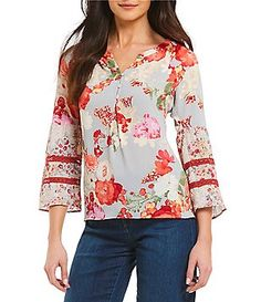 74431220793d82 Figueroa   Flower Petites Sally 3 4 Bell Sleeve Floral Print Top Petite Tops