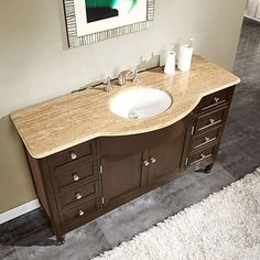 Pic Of Make your next bathroom remodel count with the charming style of natural stone This exquisite single sink vanity features a unique travertine stone top
