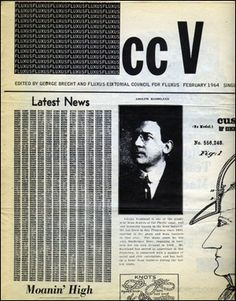 cc V TRE : Fluxus Newspaper - Specific Object Fluxus Movement, Fluxus Art, Cc Cv, Nam June Paik, John Cage, Editorial Layout, Mail Art, Newspaper, New Art