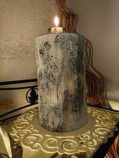 -Burning pen -Polttotyö -Pyrography candleholder -Polttotyöt kynttilänpidike -Log -Pölli Pyrography, Pillar Candles, Candle Holders, Art, Craft Art, Kunst, Gcse Art, Woodburning, Candelabra