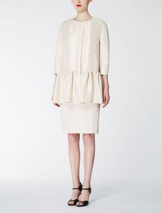 Max Mara BALZAC ivory: Viscose and silk dust coat.