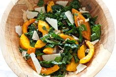 First Course: Roasted Squash & Kale Salad Ingredients: 1 medium butternut squash 1 bunch Lacinato kale 1 shallot, sliced Extra-virgin olive oil Parmesan cheese for topping  Dressing: 1 shallot, minced 3 tbsp red wine vinegar 1/3 cup olive oil.
