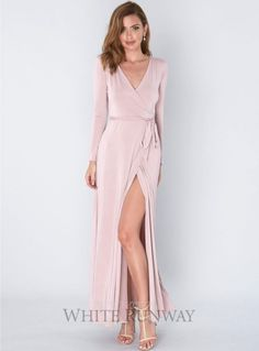 A beautiful full length dress by Pia Gladys Perey. A long sleeved wrap dress featuring a v-neckline and side split. Sexy Dresses, Evening Dresses, Formal Dresses, Wrap Dress, Dress Up, Older Bride, Vestidos Sexy, Bridesmaid Dresses, Wedding Dresses