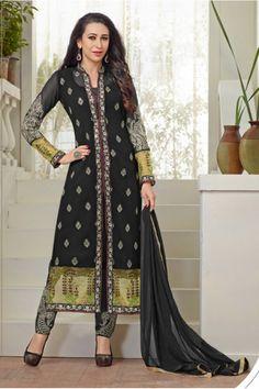 Karishma Kapoor In Black Georgette Salwar Suit  - 18120