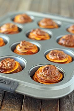 These Sweet Potato Casserole Stacks are a fun twist on the traditional Thanksgiving side dish, perfectly portioned at just 141 calories or 3 Weight Watchers points! www.emilybites.com