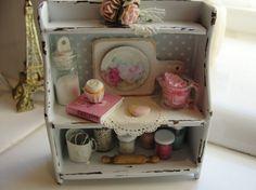 1:12 scale // Miniature shabby baking shelf by Kimsminibakery on Etsy