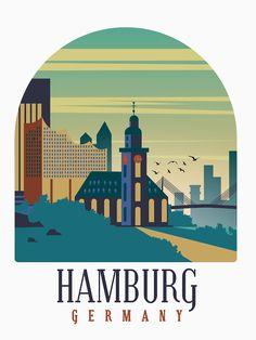 Tourism Poster, Hamburg Germany, Europe, Tshirt Colors, Female Models, Taj Mahal, Classic T Shirts, Digital Art, Graphic Design