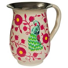 Add a splash of colour to your dining table with this hand-painted steel jug, featuring a vibrant peacock design. Perfect for holding punch, it looks equally as striking displaying fresh flowers for an attractive centrepiece.  Product: JugConstruction Material: Stainless steelColour: FuchsiaFeatures: Hand-painted2 L CapacityDimensions: 19 cm H x 14 cm DiameterCleaning and Care: Hand wash only