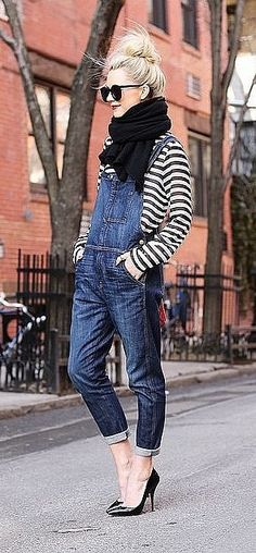 Overalls, a Striped Shirt, Black Heels, and a Black Scarf