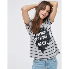 Vero Moda Didie Stripe Slogan T-Shirt ($20) ❤ liked on Polyvore featuring tops, t-shirts, grey, jersey t shirts, print t shirts, print tees, scoop-neck tees and slogan t shirts