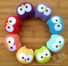 2000 Free Amigurumi Patterns: Baby Owl Ornaments Amigurumi Crochet Pattern