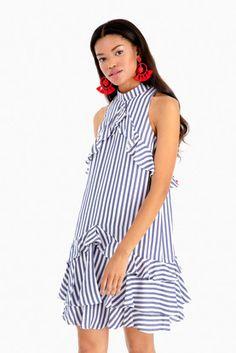 Sailor Stripe Ruffle Dress Dressy Summer Outfits, Summer Outfits Women, Spring Outfits, Casual Outfits, Ruffle Dress, Striped Dress, Summer Skirts, Summer Dresses, Nautical Dress