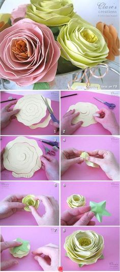 Paper Rose tutorial handmade craft project. Pretty for weddings, gifts or home decoration.