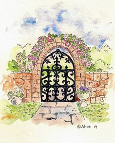 How to Draw Worksheets for The Young Artist: How to Draw The Rustic Garden Gate With A Stone Arch
