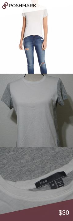 """Vince-Two-Tone White-Gray-100% Pima-Cotton T-Shirt Women's Vince Two Tone White Gray 100% Pima Cotton Tee Size Medium  Chest 18"""" Length 23.5"""" Vince Tops Tees - Short Sleeve"""