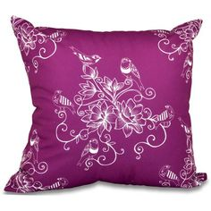 Simply Daisy 16 inch x 16 inch Morning Birds Floral Print Pillow, Purple