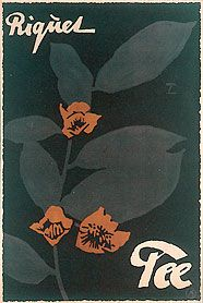 Ludwig Hohlwein (1874-1949), German poster artist / Riquet Tee [Riquet Tea] advertising poster, lithograph, c. 1921 … depicts Camellia sinensis tea plant leaves and flowers